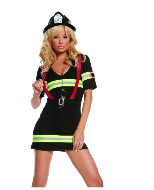2 pc ms. blazin' hot dress & belt w/attached suspenders black