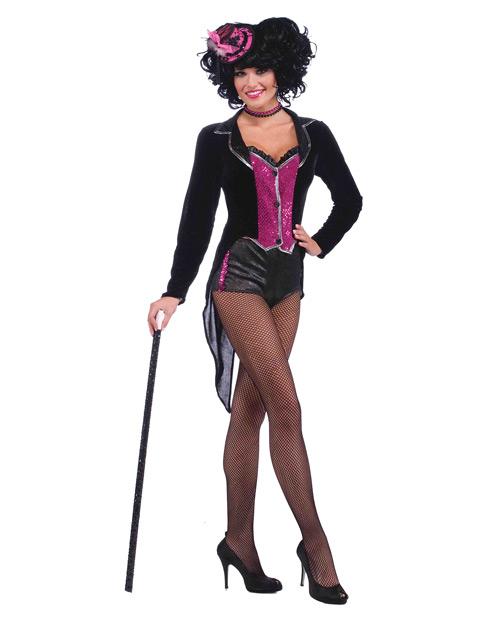 2 pc burlesque show stopper tail coat w/attached vest & hot pants black/hot pink o/s
