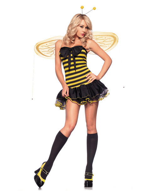 3 pc lil' bumble bee strapless chemise w/built in pettycoat, wings & headpiece yellow