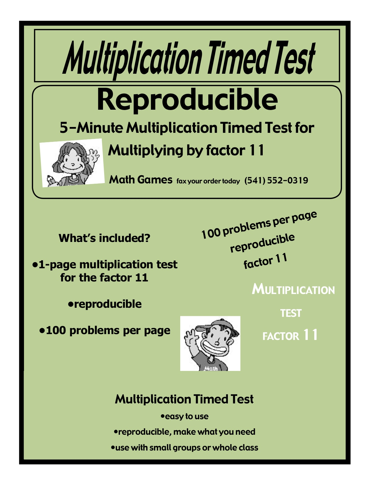 Multiplication 5 Minute Timed Test Multiplying By 11