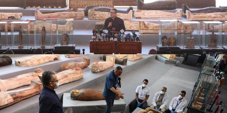 100 wooden Sealed coffins are found in three burial shafts in ancient site of Saqqara, located 20 miles south of Cairo Egypt