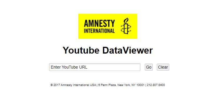 Fact Check Videos: Amnesty International YouTube data viewer