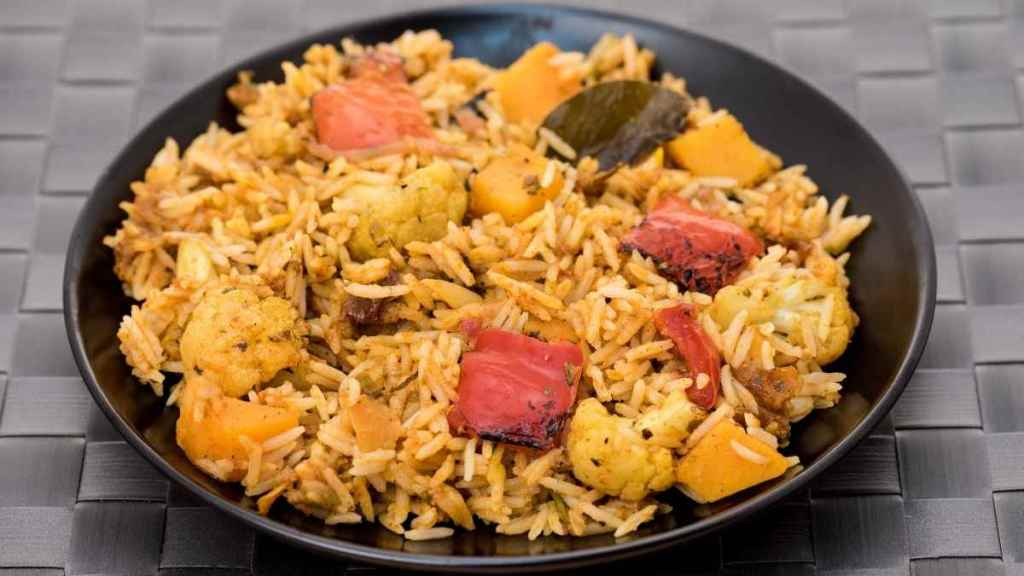 Baked Tofu With Vegetable Biryani
