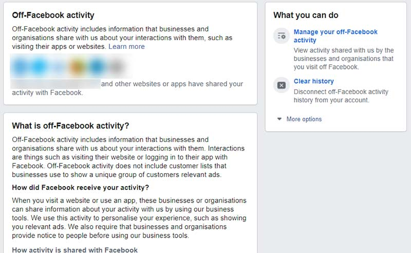 What is off Facebook activity