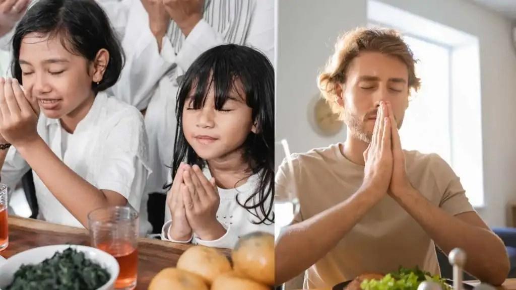 Praying before starting to eat