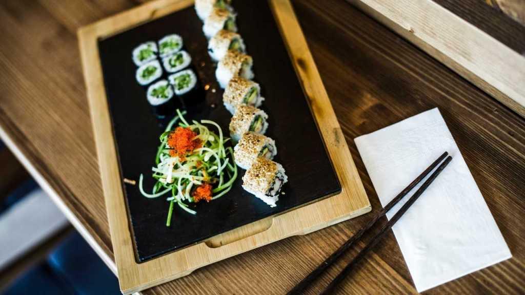 Sushi food at airport