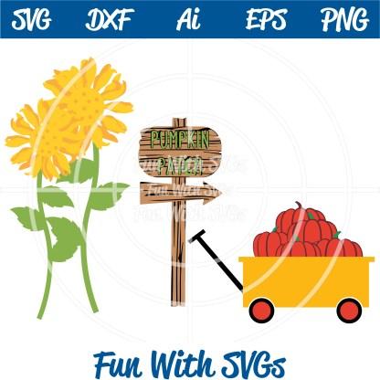 Harvest Farm Sunflowers, Sign Pumpkins wagon svg Image