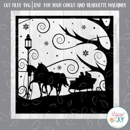 Two Horse Open Sleigh SVG Image