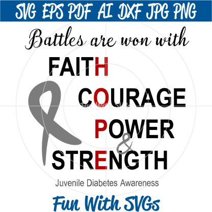 Battles Are Won - Juvenile Diabetes Awareness SVG Image