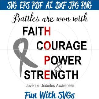 Battles Are Won - Juvenile Diabetes Awareness SVG Image