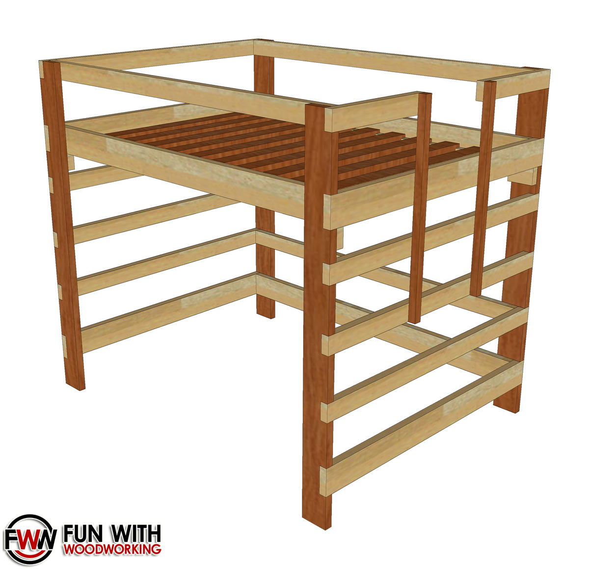 full size loft bed full plans fun with woodworking. Black Bedroom Furniture Sets. Home Design Ideas