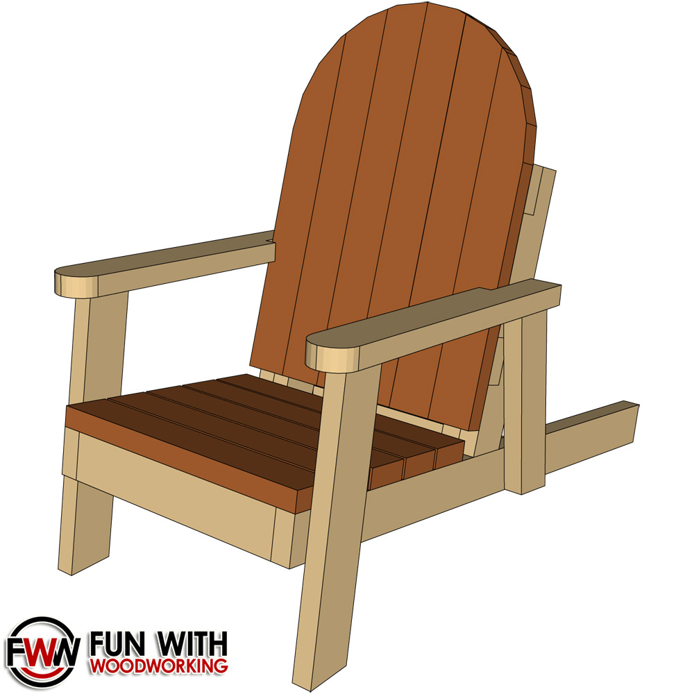 adirondack chair made from 8 – 2×4's – full plans