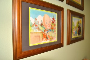 Hanging above the changing table is a priceless gift from my mom. She framed pages from a family heirloom nursery rhyme book! On the back of each picture, she included the actual nursery rhyme and childhood pictures of herself, her mom, my dad and myself. Such a sweet collection to pass down!