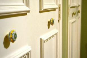 I found these adorable knobs from Anthropologie - they added the perfect little detail to this wall of closet doors.