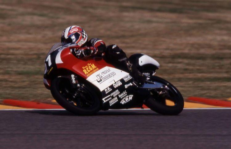 Dovizioso su Aprilia 125cc, Mugello 2001.