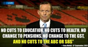 Image: Abbott lies about no cuts to everything in existence