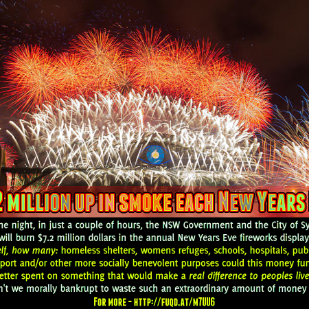 Image: meme about $7.2 million going up in smoke for Sydney's New Years Eve fireworks display