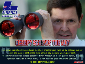 Image: Abbott forces Australian Defence Force personal to accept a below cost of living wage increase and hikes rents