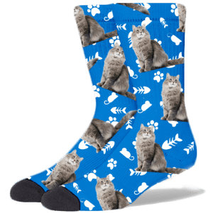 FurbabySocks Custom Blue Cat Socks