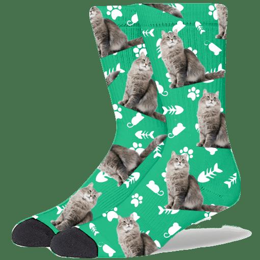 FurbabySocks Custom Green Cat Socks