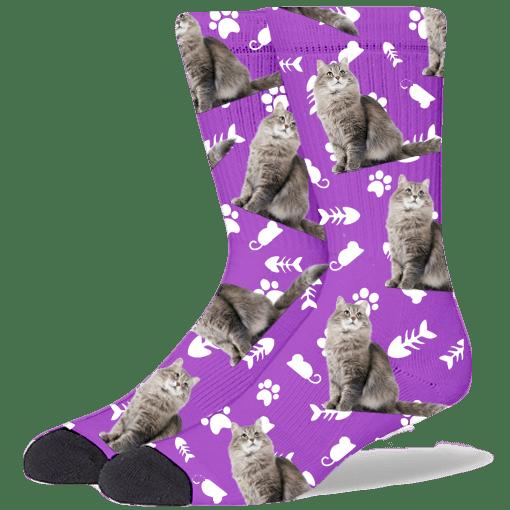 FurbabySocks Custom Purple Cat Socks
