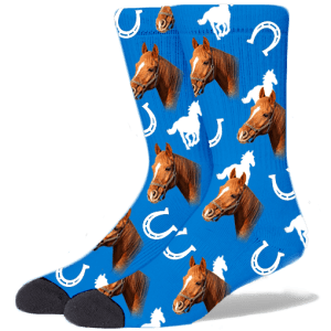 FurbabySocks Custom Blue Horse Socks