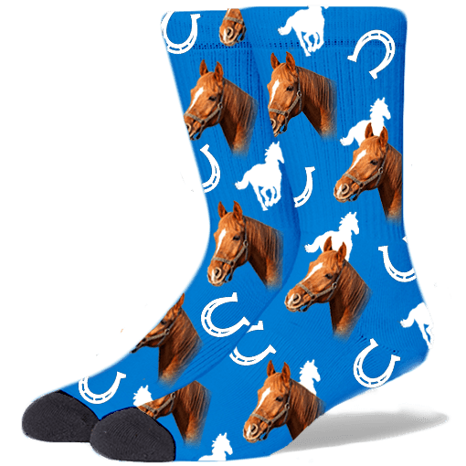FurbabySocks Custom Blue Horse Socks