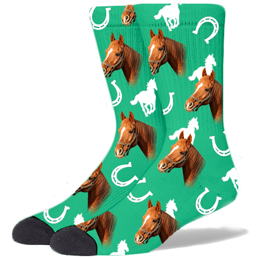 FurbabySocks Custom Green Horse Socks