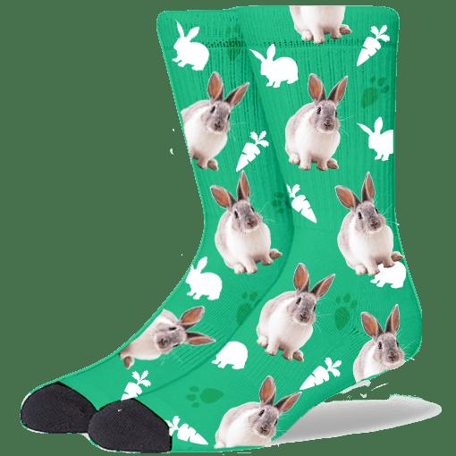 FurbabySocks Custom Green Rabbit Socks