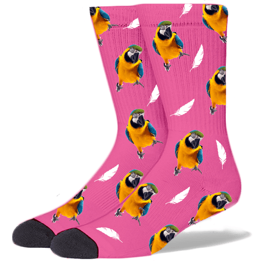 FurbabySocks Custom Pink Bird Socks