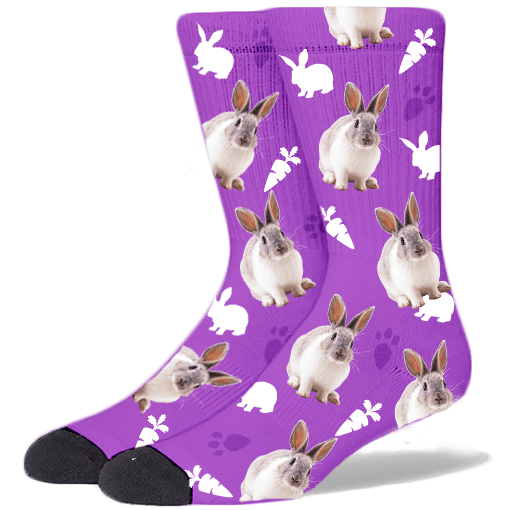 FurbabySocks Custom Purple Rabbit Socks