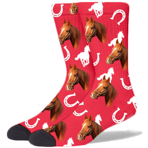 FurbabySocks Custom Red Horse Socks