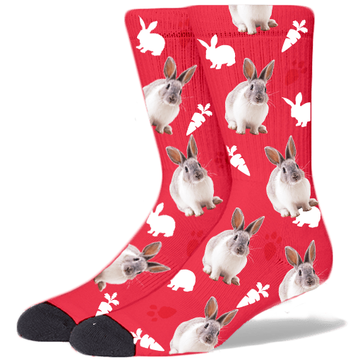 FurbabySocks Custom-Red Rabbit Socks