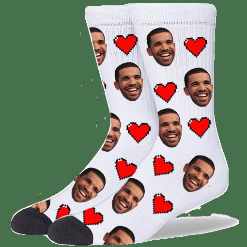 FurbabySocks Custom White Heart Socks