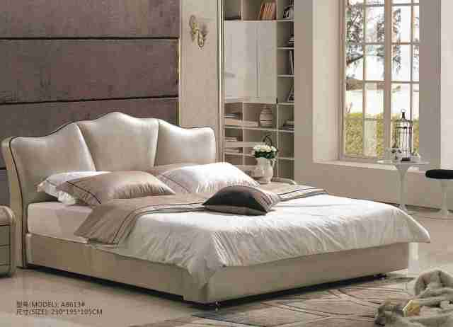A8613-high quality upholstered leather king bed made by china luxury and modern furniture factory and company-furbyme