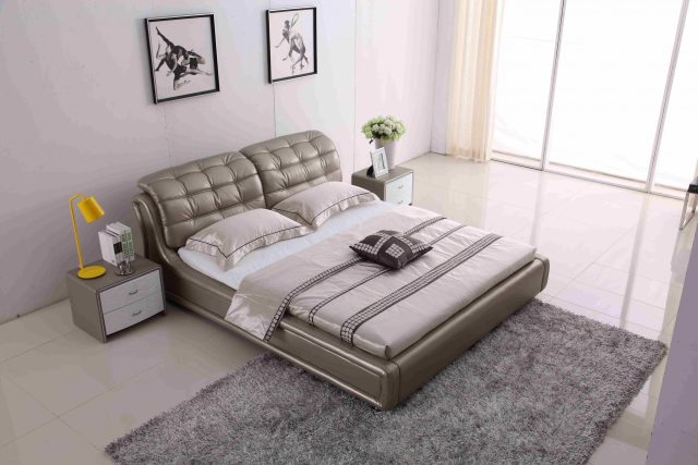A8652-high quality upholstered leather king bed made by china luxury and modern furniture factory and company-furbyme