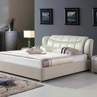 A8677-high quality upholstered leather king bed made by china luxury and modern furniture factory and company-furbyme