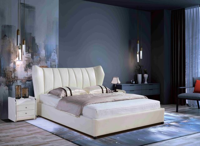 A8700-high quality upholstered leather king bed made by china luxury and modern furniture factory and company-furbyme