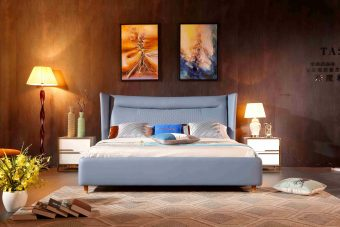 A8702-high quality upholstered leather king bed made by china luxury and modern furniture factory and company-furbyme