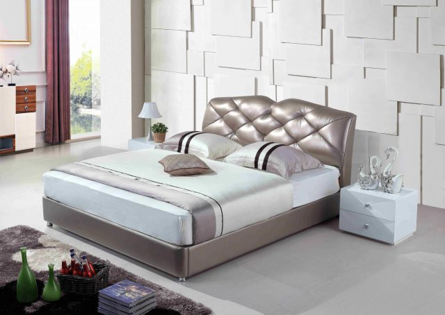 A8795-high quality upholstered leather king bed made by china luxury and modern furniture factory and company-furbyme