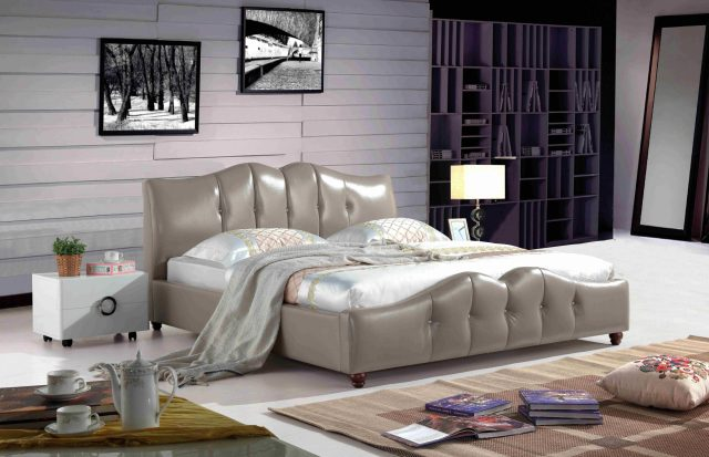 A8828-high quality upholstered leather king bed made by china luxury and modern furniture factory and company-furbyme