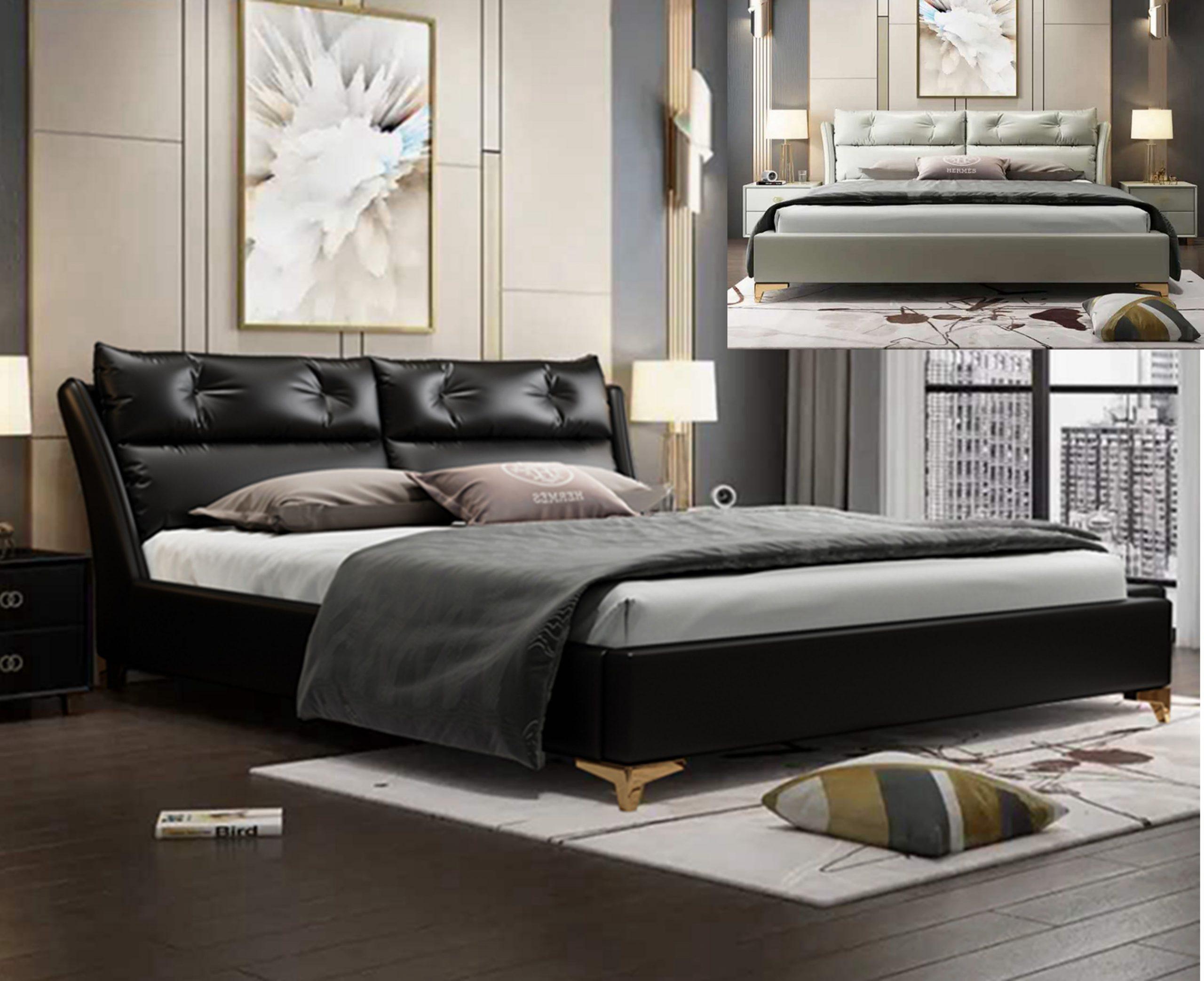 Upholstered Leather Bed China Latest Designs Modern Bedroom Furniture Shop