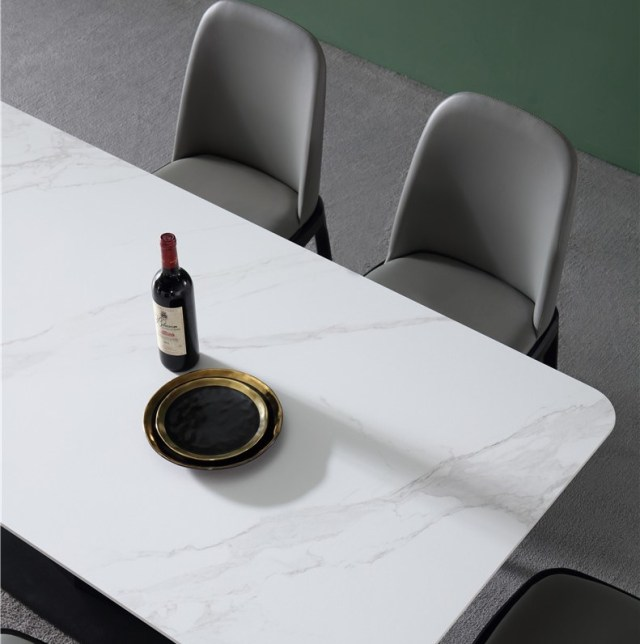 kdf703-china modern luxury home furniture metal slate mable top kitchen dining table supplier manufacturer factory company-furbyme (5)