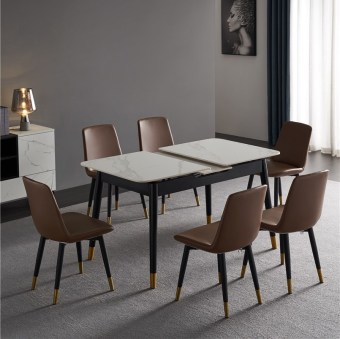 505china modern luxury home furniture wood sintered stone mable top expandable dining table supplier manufacturer factory company-furbyme (6)