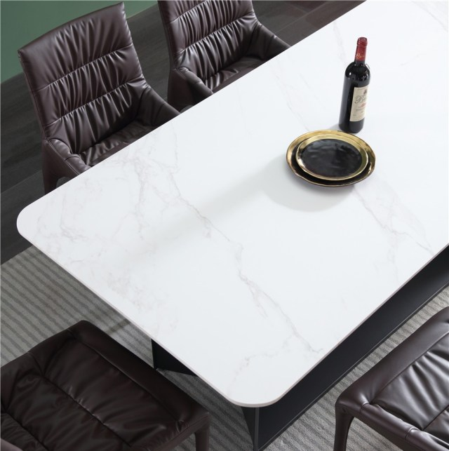 dkf719-china modern luxury home furniture metal slate mable top kitchen dining table supplier manufacturer factory company-furbyme (2)