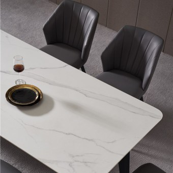 dkf735-china modern luxury home furniture metal slate mable top kitchen dining table supplier manufacturer factory company-furby (1)