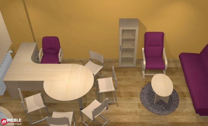 Kształtowe biurko z okrągłym stolikiem do gabinetu Ordynatora