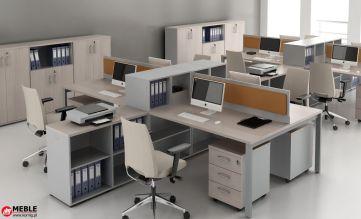 Biurka modułowe z przegrodami, wyposażone w kontenery i podręczne organizery