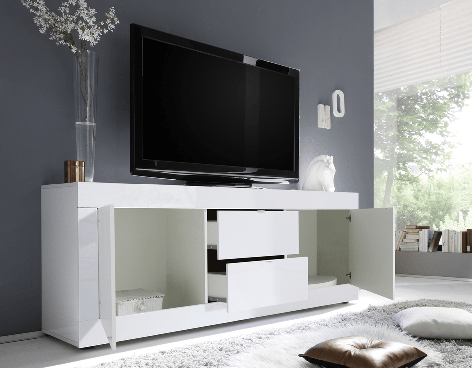 Urbino Low Sideboard Tv Stand Gloss White Finish Tv Media Units