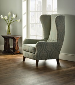 Custom upholstered wingback chair